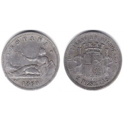 Gobierno Provisional. 1869*(---68). 2 Pesetas (BC/BC+) (Plata) Ceca de Madrid SN-M. VARIANTE