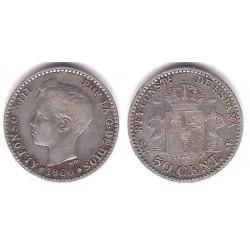 Alfonso XII. 1900*(0--). 50 Céntimos (MBC) (Plata) Ceca de Madrid SM-V