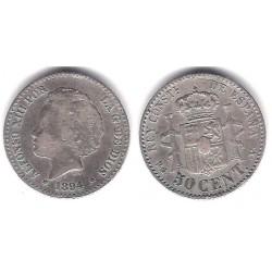 Alfonso XIII. 1894*(--4). 50 Céntimos (BC+/BC) Ceca de Madrid PG-V