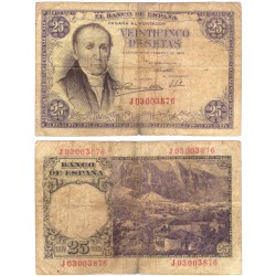 Estado Español. 1946. 25 Pesetas (BC/BC-) Serie J