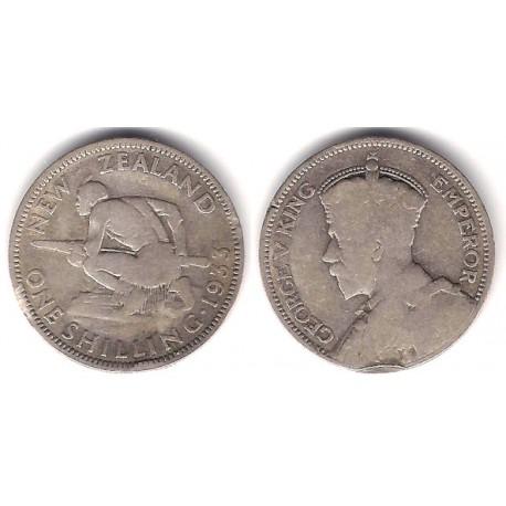 (3) Nueva Zelanda. 1933. 1 Shilling (BC) (Plata)