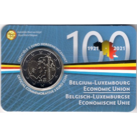 Bélgica. 2021. 2 Euro (SC) Unión Economica Bélgica-Luxemburgo