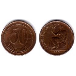 España (II República). 1937. 50 Céntimos (MBC) Variante. Orla puntos a cuadros y sin estrellas
