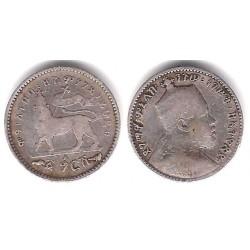 (12) Etiopía. 1889/91. 1 Gersh (MBC-) (Plata)