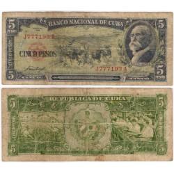 (91a) Cuba. 1957. 5 Pesos (BC) Escrito