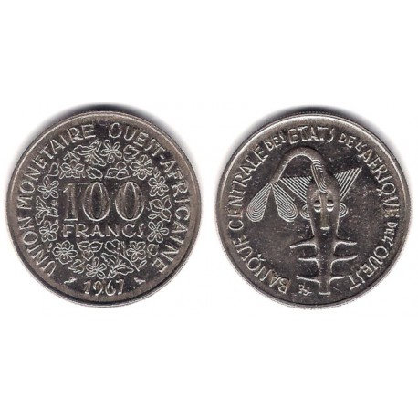 (4) Estados África Oeste. 1967. 100 Francs (MBC)