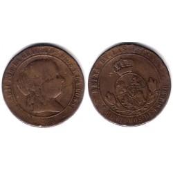 Isabel II. 1868. 5 Céntimos de Escudo (BC-/BC) Ceca de Segovia OM
