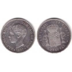 Alfonso XIII. 1897*(18-97). 5 Pesetas (MBC-) (Plata) Ceca de Madrid SG-V