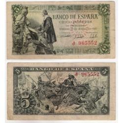 Estado Español. 1945. 5 Pesetas (MBC-) Leves roturas en márgenes