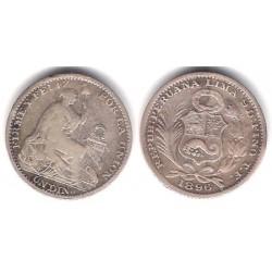 (206.2) Perú. 1896. 1 Dinero (MBC-) (Plata)
