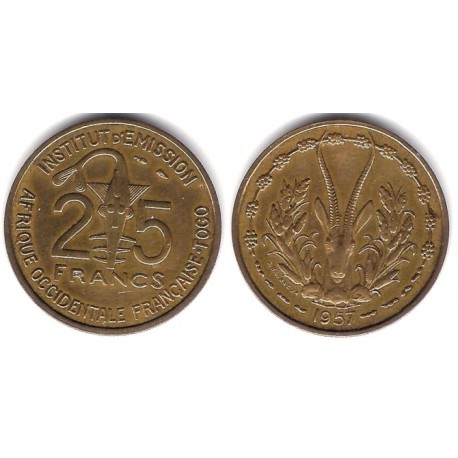 (9) Africa Occidental Francesa (Togo). 1957. 25 Francs (EBC)