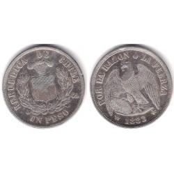 (142.1) Chile. 1883. 1 Peso (MBC+) (Plata)