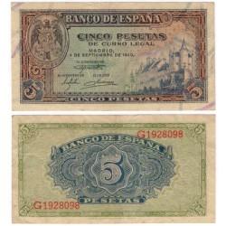 Estado Español. 1940. 5 Pesetas (EBC-) Serie G
