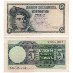 Estado Español. 1948. 5 Pesetas (SC) Serie A. Manchitas