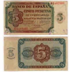 Estado Español. 1938. 5 Pesetas (MBC+) Serie B