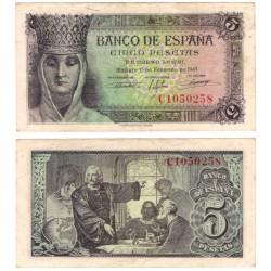 Estado Español. 1943. 5 Pesetas (MBC+) Serie C