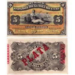 Cuba Colonial. 1896. 5 Pesos (EBC)