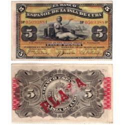 Cuba Colonial. 1896. 5 Pesos (MBC)