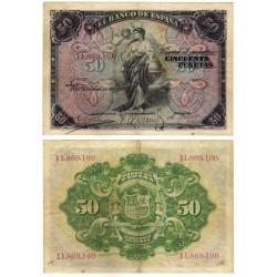 España. 1906. 50 Pesetas (BC+) Sin Serie. Leves Escritos