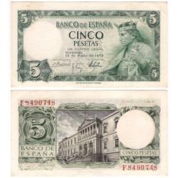 Estado Español. 1954. 5 Pesetas (EBC-) Serie F. Leve mancha