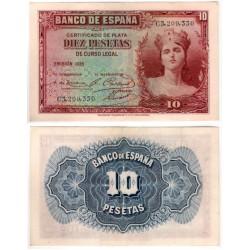 España. 1935. 10 Pesetas (EBC-) Serie C