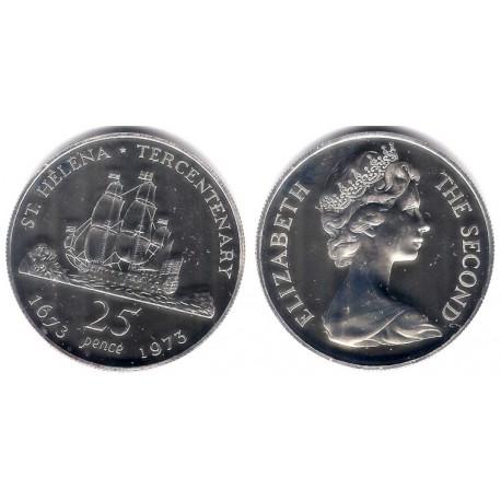 (5a) Santa Helena. 1973. 25 Pence (Proof) (Plata)