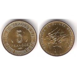 (62) Guinea Ecuatorial. 1985. 5 Francs (SC)
