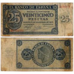 Estado Español. 1936. 25 Pesetas (RC+) Serie D. Marchas de adhesivo