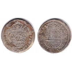 Carlos III (Arch. Austria). 1708. 2 Reales (BC+) (Plata) Ceca de Barcelona
