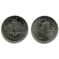 (13) Barbados. 2009. 25 Cents (SC)
