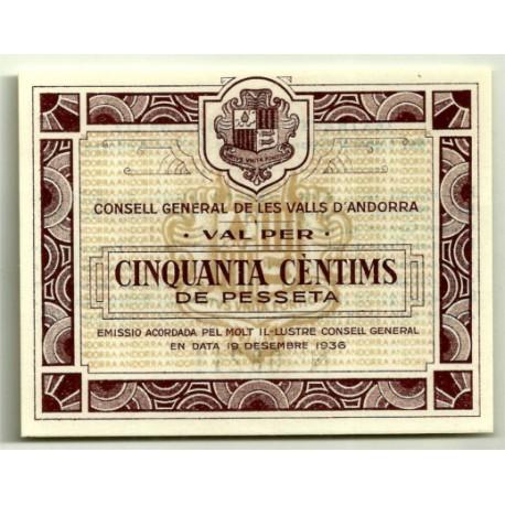 (5) Andorra. 50 Céntimos de Pesseta. 1936 (SC)