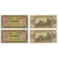 [1938] Billete de 50 Pesetas (x2) (EBC). Serie E. Pareja correlativa.