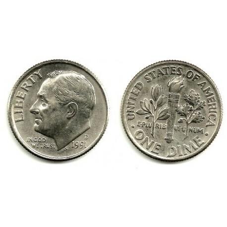 (195a) Estados Unidos de América. 1991(D). 1 Dime (EBC)