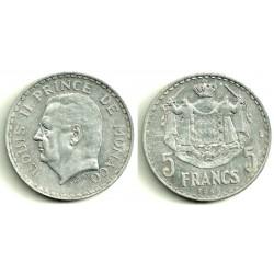 (122) Mónaco. 5 Francs. 1945 (EBC)