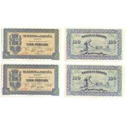 [1937] Billete de 100 Pesetas (x2) (SC). Pareja Correlativa.