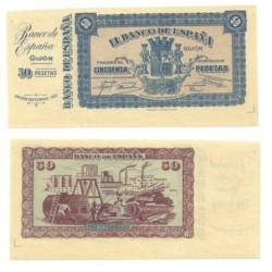 [1937] Billete de 50 Pesetas (SC). No circuló. Con matriz.