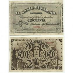 [1936] Billete de 50 Pesetas (MBC). Sin Serie.